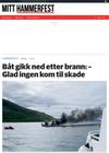 Båt gikk ned etter brann: - Glad ingen kom til skade